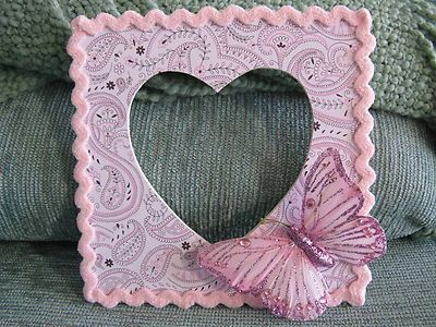 New LG Paisley Pink Heart Wooden Table Top Frame w LG Pink Butterfly Bling | eBay