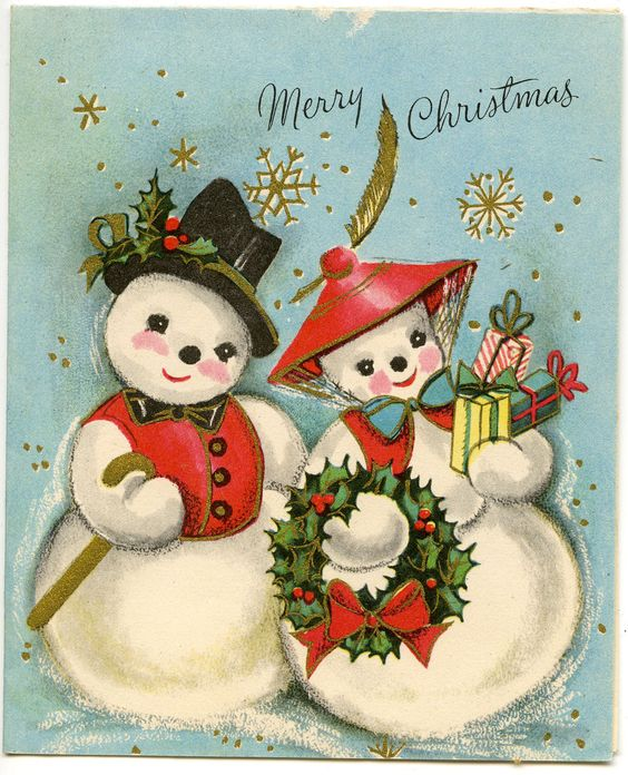 Vintage Mid Century Fancy Dressed Snow Coupe Christmas Card | eBay