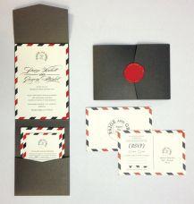 Airmail! Love this wedding invite idea Wined and Designed #bermuda #wedding