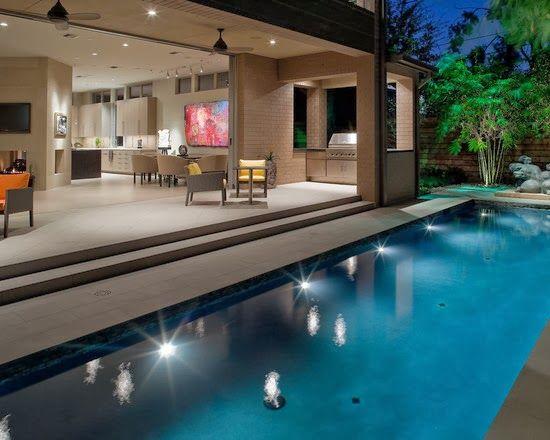 Dise o de interiores arquitectura casa con paisaje for Disenos de piscinas para casas pequenas