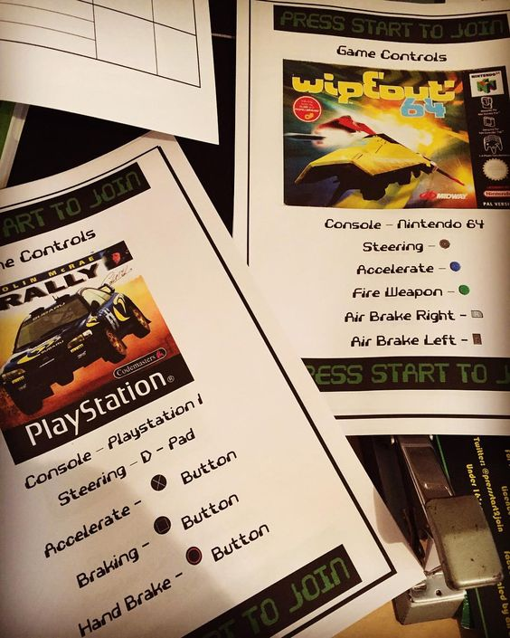On instagram by pressstart2join #retrogaming #microhobbit (o) http://ift.tt/1S8JLcx days til race day and the control sheets are coming together  #playstation #nintendo #wipeout #rally #racing
