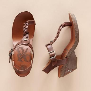 """Braided leather and a toe ring lend a little retro cool to these high-stepping sandals. Rubber soles. 2-3/4"""" heels. Imported. Whole and half sizes 6 to 10, 11."""