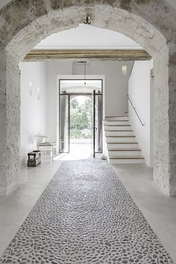Rustic stone farmhouse hallway interior. European Farmhouse and French Country Decorating Style Photos. #rusticdecor #entry #Greece #white