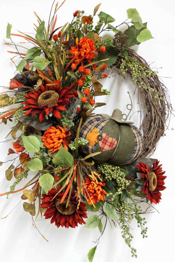 Pumpkin & Fall Flower Wreath
