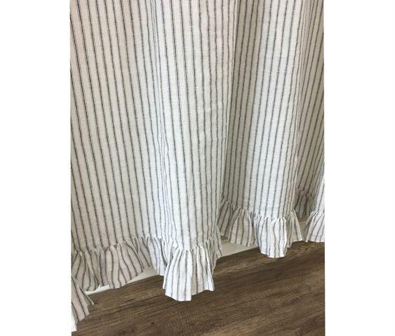 Iron And White Ticking Stripe Linen Shower Curtain With Ruffle Hem Linen Duvet Cover Grey Striped Shower Curtains Linen Duvet Covers