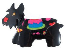 Signed Lea Stein Kimdoo Dog Scottish Terrier Brooch Black + Multi