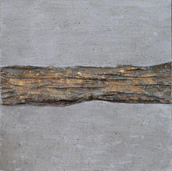 Bild Abstrakt auf Leinwand 40x40x15 cm mit Gold von AtelierMaltopf, $65.00