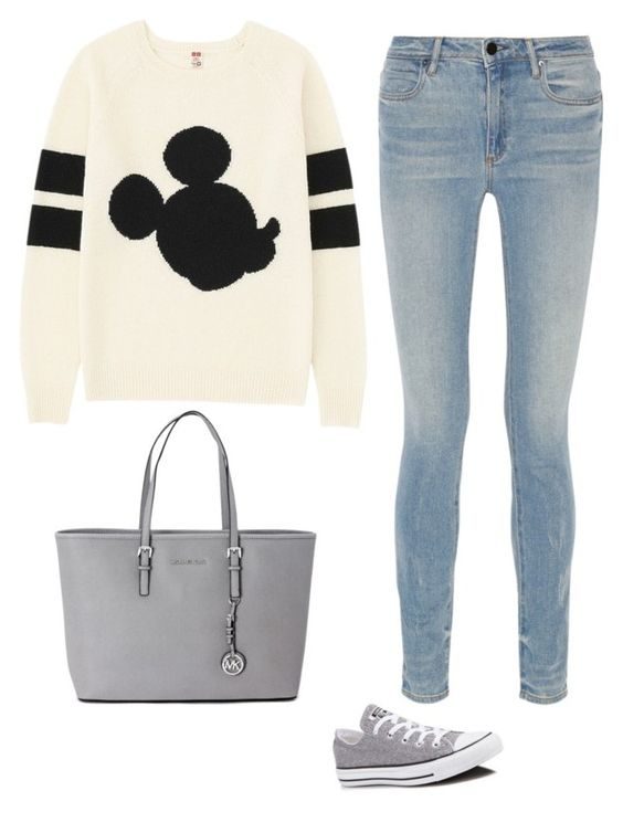 """Micky Mouse is in the house!"" by camilee1105 ❤ liked on Polyvore featuring Uniqlo, Alexander Wang, Converse and Michael Kors"