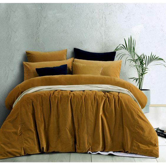Cotton Velvet Quilt Cover Set Or European Pillowcases Gold Harmony By Accessorize Velvet Quilt Cover Velvet Quilt Quilt Cover Sets