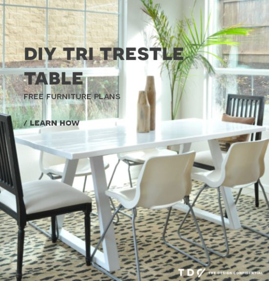Free DIY Furniture Plans: How To Build A Tri Trestle Table | The Design  Confidential