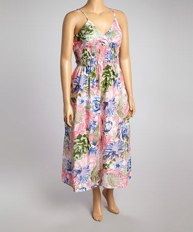 Look what I found on #zulily! Green & Pink Floral Shirred Surplice Maxi Dress - Plus #zulilyfinds