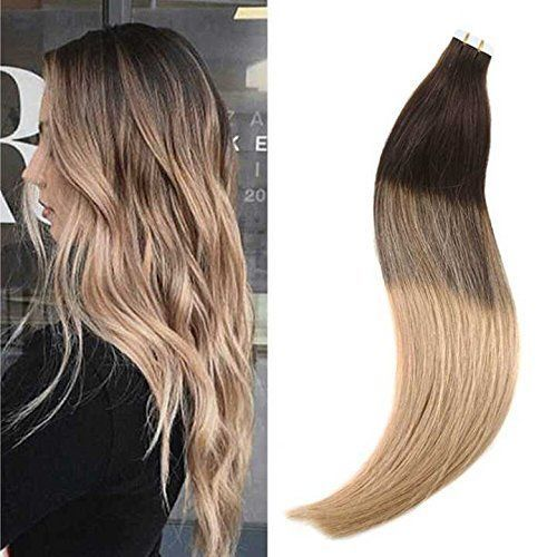 14 24 Balayage Dark Brown Fading To Caramel Blonde Tape In Real