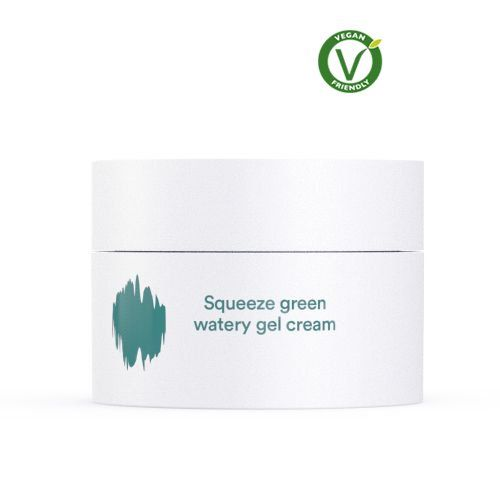 E Nature Squeeze Green Watery Gel Cream  A fresh, gel-based moisturizer that contains oil capsules (that look like small green specs) which actively work to provide your skin a layer of extra moisture when applied.