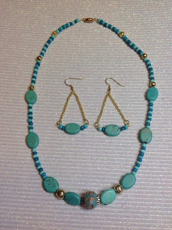 Blue teal and gold necklace and earrings