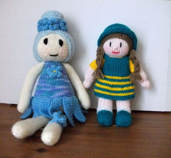 TWO HAND KNITTED DOLLS SOFT TOYS