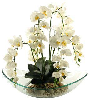 D&W Silks Cream Phaeleanopsis Orchids In Large Glass Bowl   Orhidee Phaeleanopsis in vas de sticla larg #orhidee #orchd @phaeleanopsis, #flowers #flori
