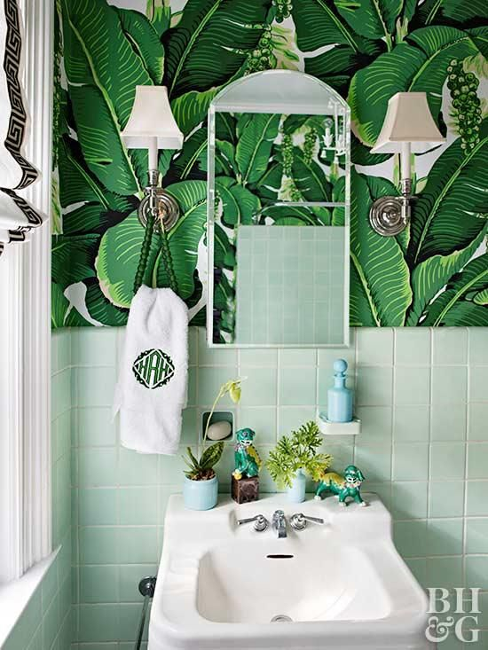 Yes You Can Use Wallpaper In Your Bathroom Decor Ideas A Bold Wall Color Is A Good Choice But A Unique Green Bathroom Green Tile Bathroom Bathroom Wallpaper
