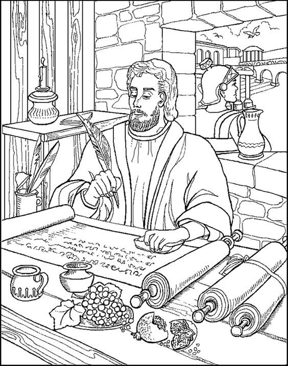 Paul Writing Letter Abda Coloring Page Bible Verse Coloring