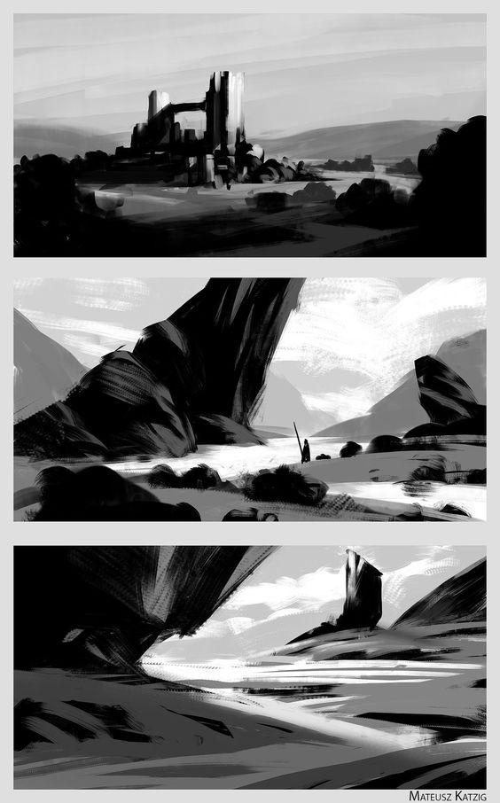 ArtStation - Composition sketches, Mateusz Katzig