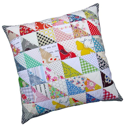Retro Half Square Triangle Pillow Cover: