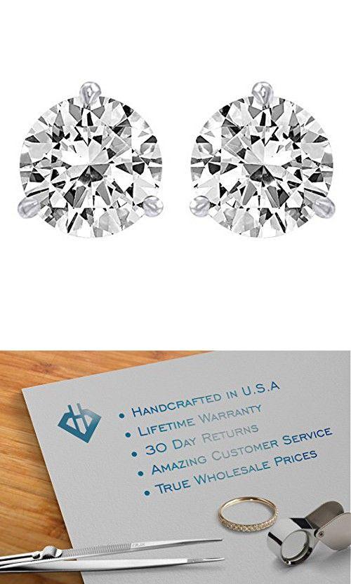 1 3 Carat Solitaire Diamond Stud Earrings Round Brilliant Shape 3 Prong Push Back D E Color Diamond Earrings Studs Round Diamond Earrings Studs Diamond Studs