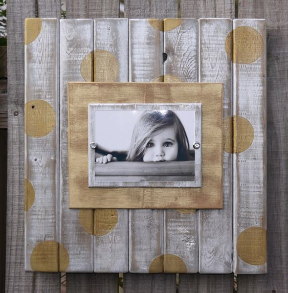 Handmade distressed plank picture frame with double wooden