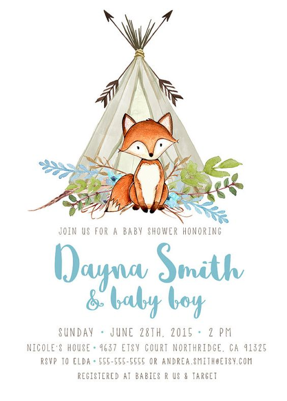 boy baby shower invitation, woodland, fox, teepee, arrow, Baby shower invitations