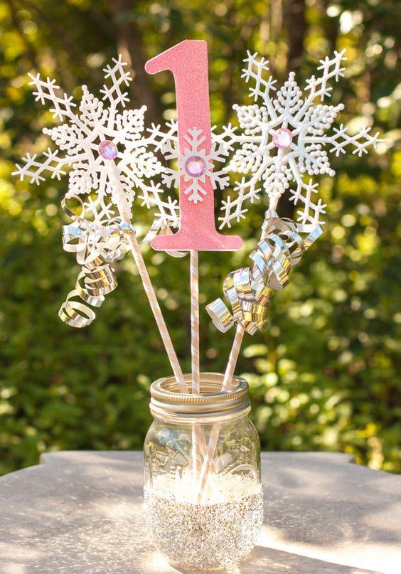 Winter wonderland silver centerpiece and on