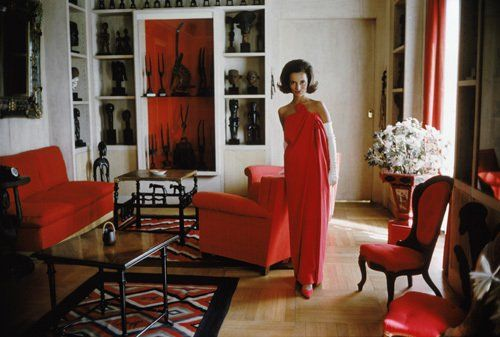 Lee Radziwill in a red gown by Lanvin circa 1960s