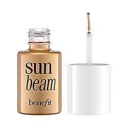 Sun Beam Benefit. $26 Consider this liquid sunshine in a bottle. This golden bronze highlighter gives you a natural, sunkissed radiance. Dot and blend over makeup onto cheek and browbones for a bronzed glow that complements all skintones.