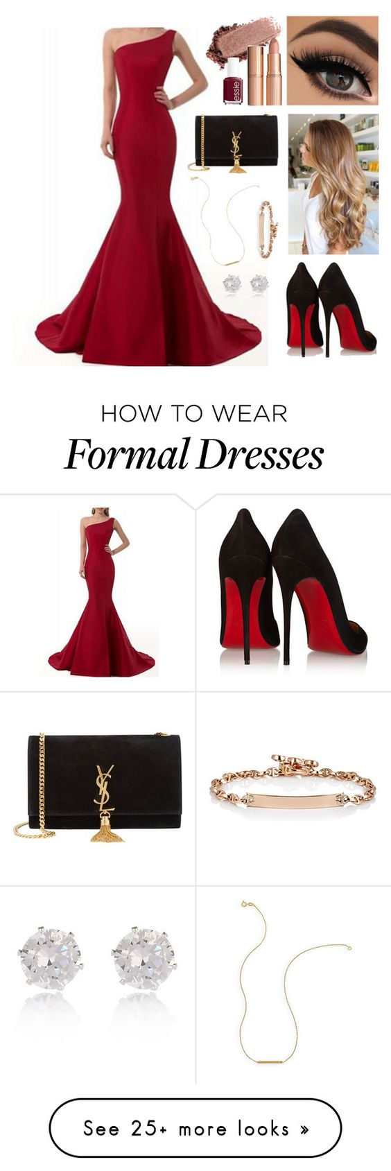 """""""Red Formal"""" by kingvoo on Polyvore featuring Christian Louboutin, Essie, Yves Saint Laurent, River Island, Wish by Amanda Rose, Hoorsenbuhs and RedCarpet"""