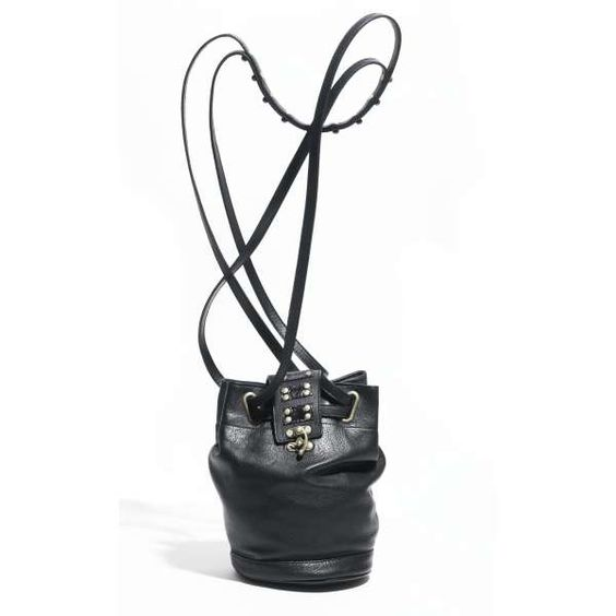 Capsize lambskin leather bucket bag in black | Jack Germain