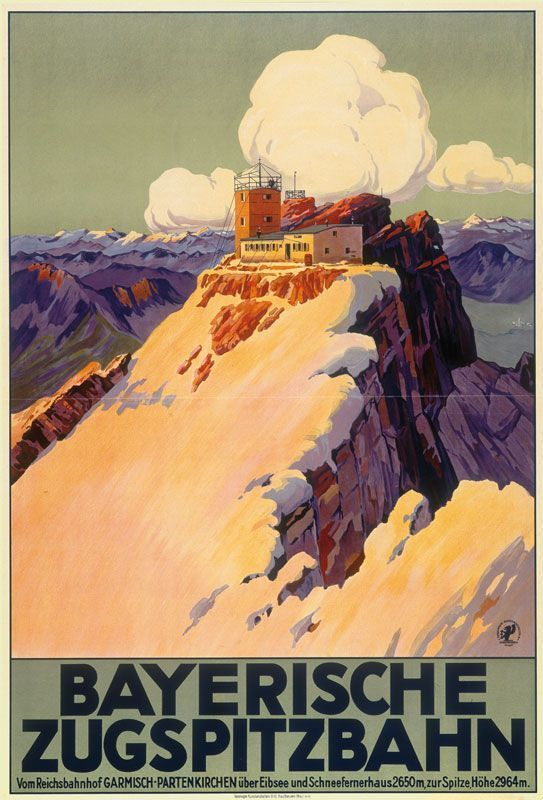 Zugspitze Vintage Travel Poster With Images Vintage Travel