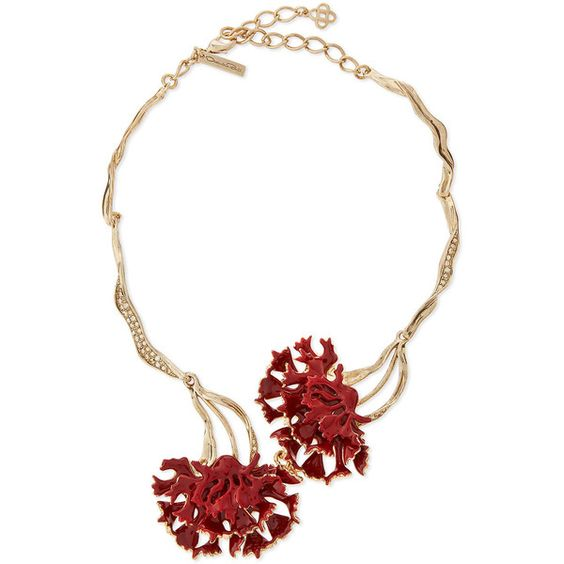 Oscar de la Renta Swarovski® Enamel Floral Collar Necklace (¥92,295) ❤ liked on Polyvore featuring jewelry, necklaces, flower jewelry, lobster claw clasp charms, floral jewelry, collar necklace and flower charms