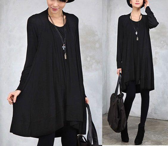 Fashion Women Black Cotton Dress Soft Layers Lining Long Sleeve ...