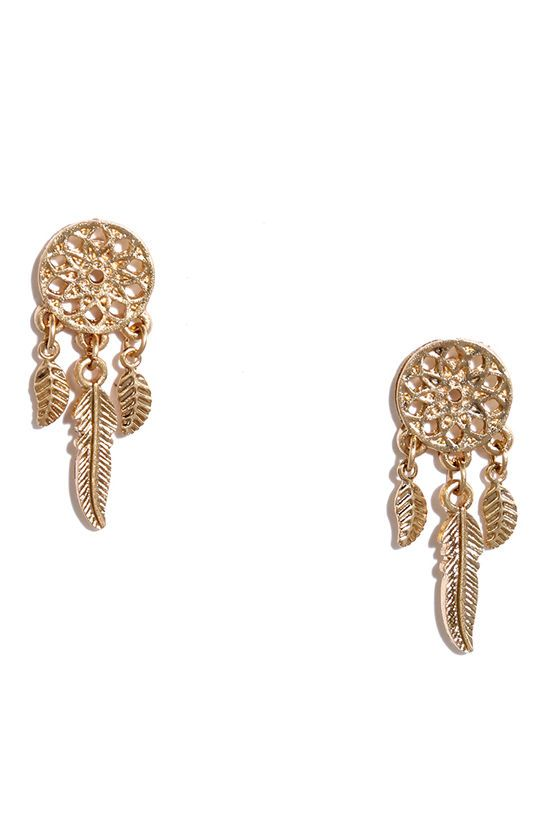 Compliments will be coming from all directions when you wear the Four Winds Gold Earrings! Dream catcher earrings include three feather charms that dangle below.