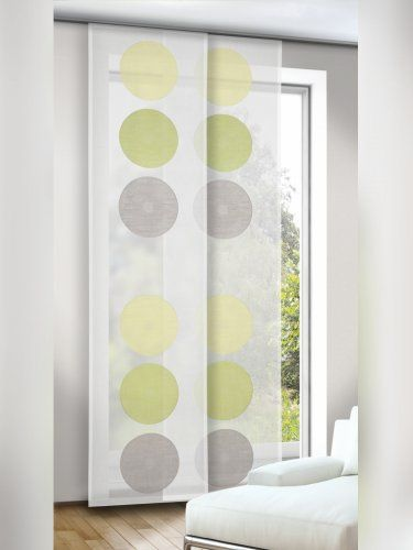 Flachenvorhang Schiebegardine Mit Kreisen Naturweiss Grun Grau Decor Home Decor Curtains