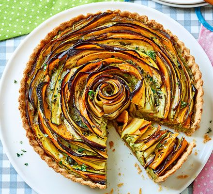 Spelt flour gives the pastry a nutty flavour which works so well with the pesto. Serve this stunning tart warm or cold and prepare for jaws to drop