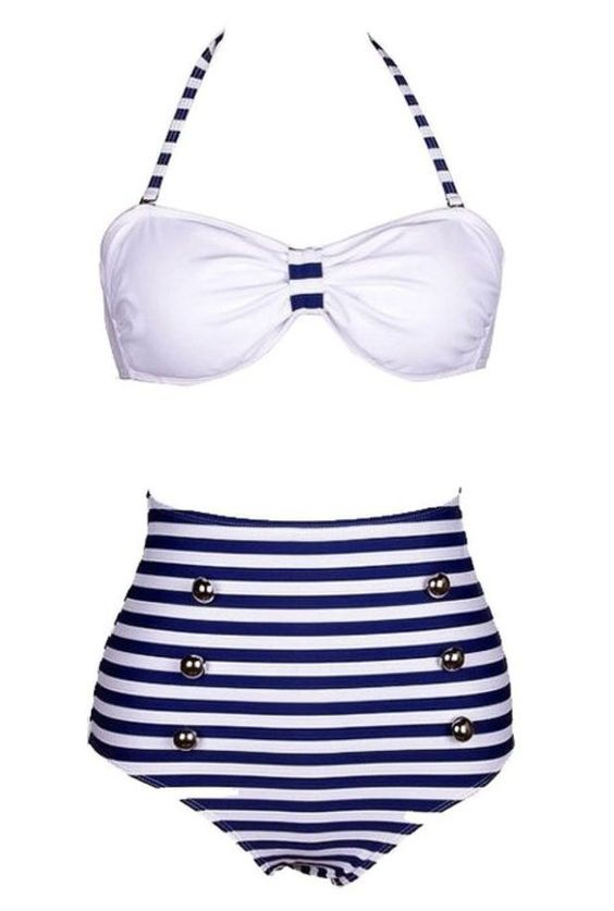 Genluna High Waist Pin up Bikini Sets Polka Top + Bottom Swimsuit Swimwear [B6914],M=US S,Blue 1
