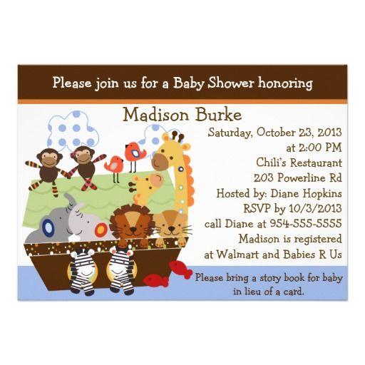 Noah's Ark/Animal Pairs Baby Shower Invitation