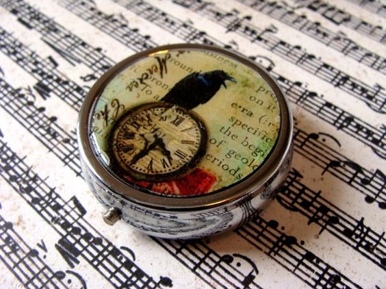 Raven Time Pill Box Case/Candy Container by SunnySkyeCreations. , via Etsy.  (Just got this for my buffet of vitamins!)
