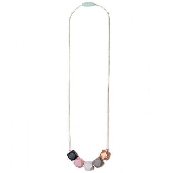 Mama and Little Teresa Silicone Teething Necklace - Marble - We love these minimalist style and the brightly colored gemetric beads. BabyCubby.com