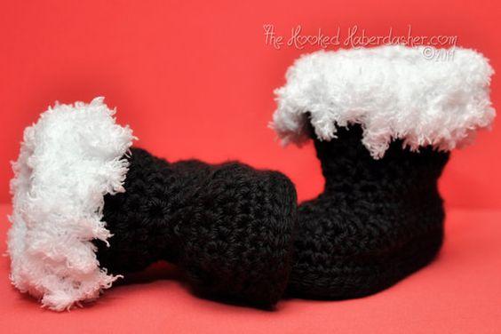 Christmas Mr. & Mrs. Santa Claus Boots slippers handcraft crochet Photoprop Costume