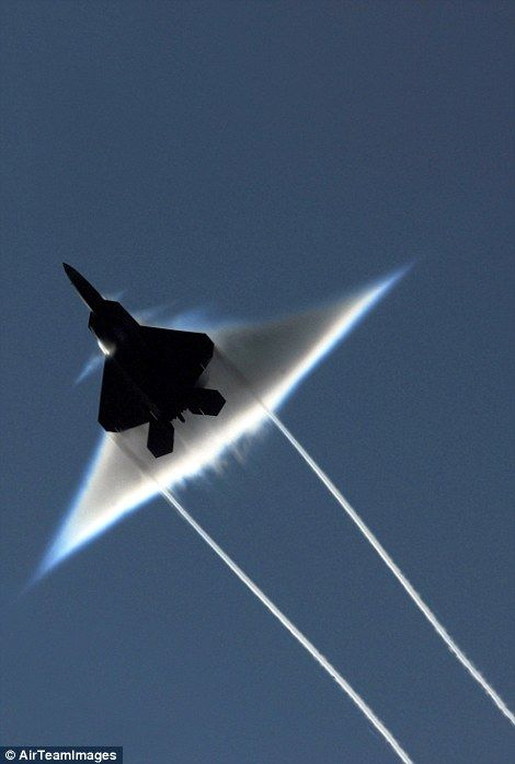 The image shows the effect of a sonic boom from below the aircraft