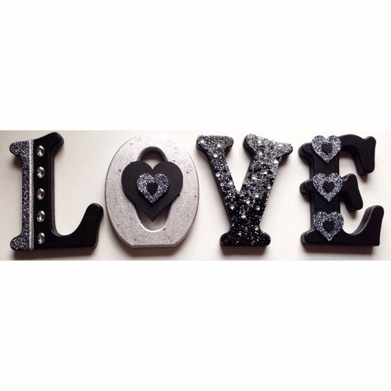 Love free standing wooden letters black white and silver design