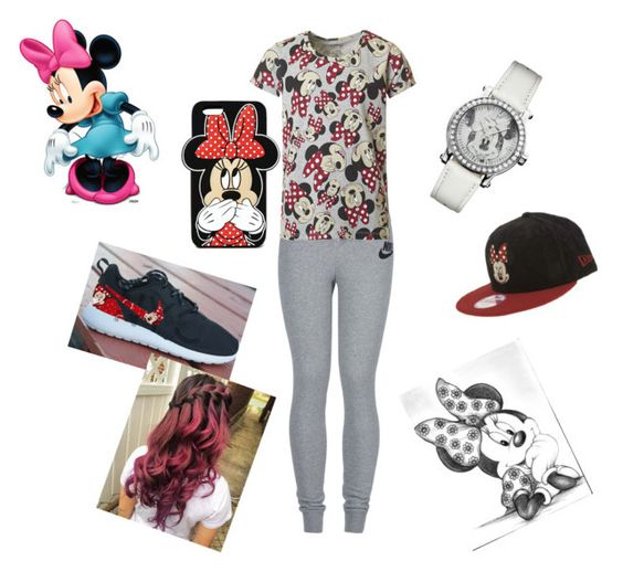 """""""He fabulous Minnie"""" by kc26 ❤ liked on Polyvore featuring NIKE, ElevenParis, Forever 21, New Era and Disney"""