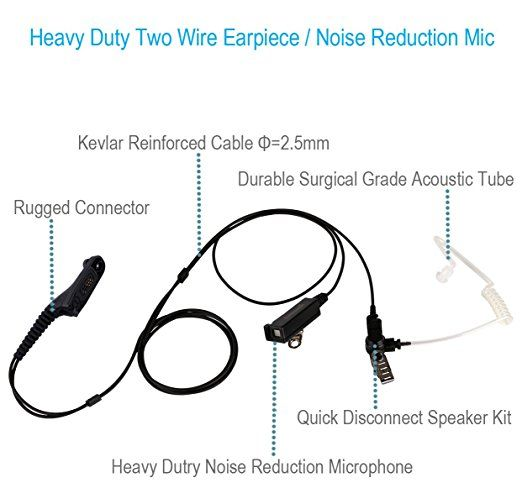 Communication Two Wire Earpiece With Kevlar Reinforced Cable For Motorola Radio Apx4000 Apx6000 Apx7000 Apx8000 Xpr6350 Xpr6550 Xpr7 Earpiece Headset Motorola