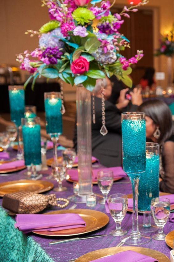 Gorgeous Purple And Teal Wedding Reception Decor Desi Wedding