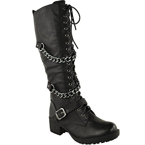 Fashion Thirsty Womens Knee High Mid Calf Lace Up Biker Punk