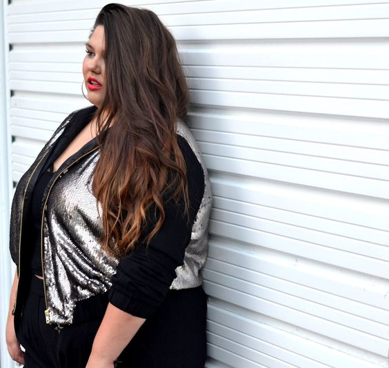 From the corners of the Curve.: Sequin Bomber Babe